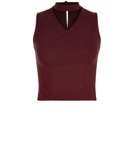 Teens Burgundy Choker Neck Cut Out Front Top | New Look