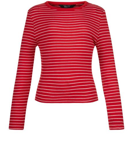 Teens Red Stripe Ribbed Crew Neck Top | New Look
