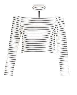 Parisian Cream Stripe Choker Bardot Neck Top | New Look