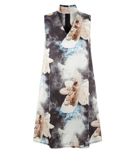 Parisian Blue Floral Print Satin Cut Out Dress | New Look