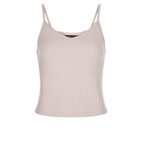Teens Stone Ribbed Sleeveless Top | New Look