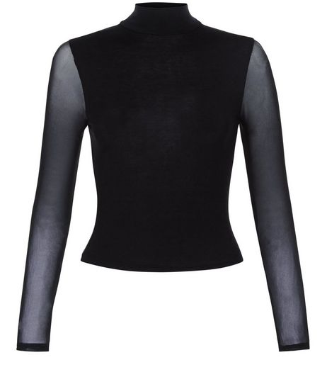 Teens Black Mesh Long Sleeve Top | New Look
