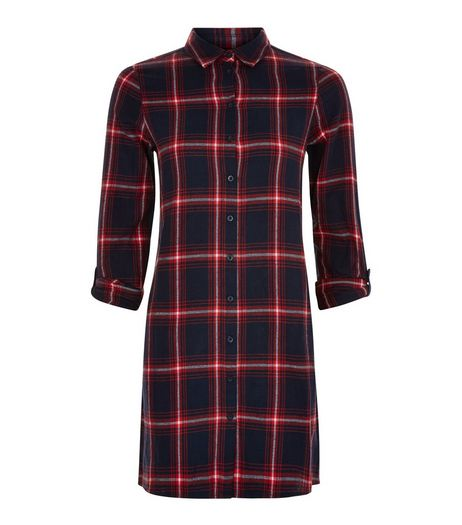 Teens Check Print Button Up Shirt Dress | New Look