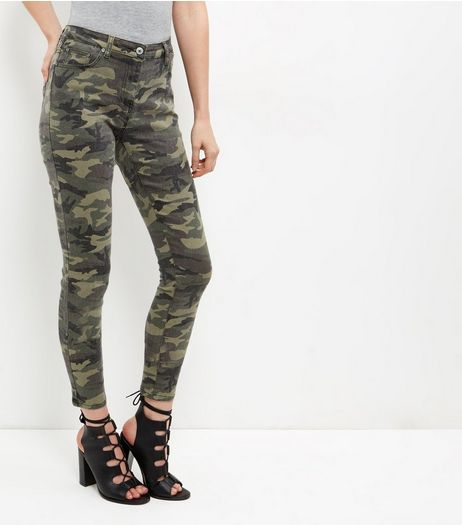 Parisian Green Camo Print Skinny Jeans  | New Look