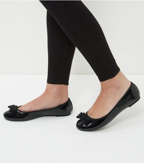 Wide Fit Black Patent Bow Front Pumps  | New Look