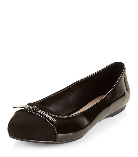 Wide Fit Black Patent Contrast Ballet Pumps | New Look