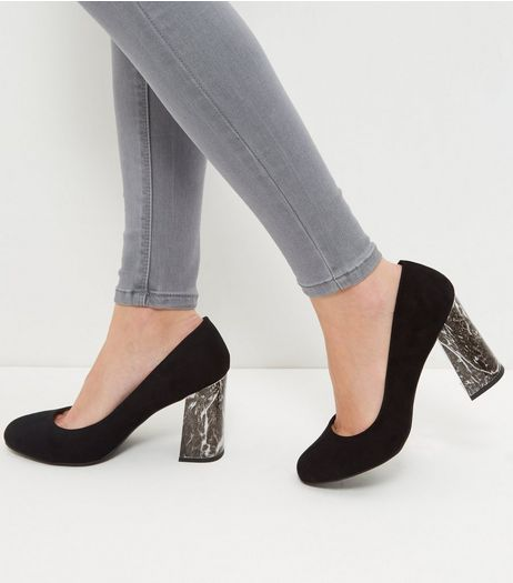 Wide Fit Black Suedette Marble Flared Heels  | New Look
