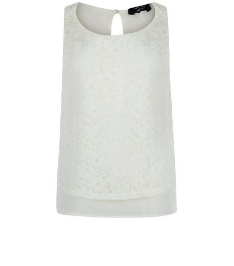 Teens Cream Lace Chiffon Sleeveless Top | New Look