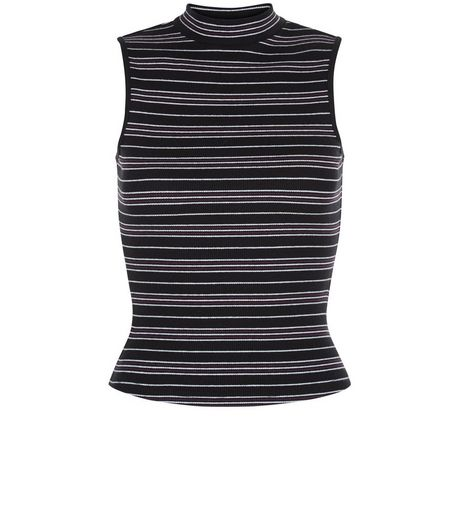Teens Black Stripe Ribbed Top | New Look