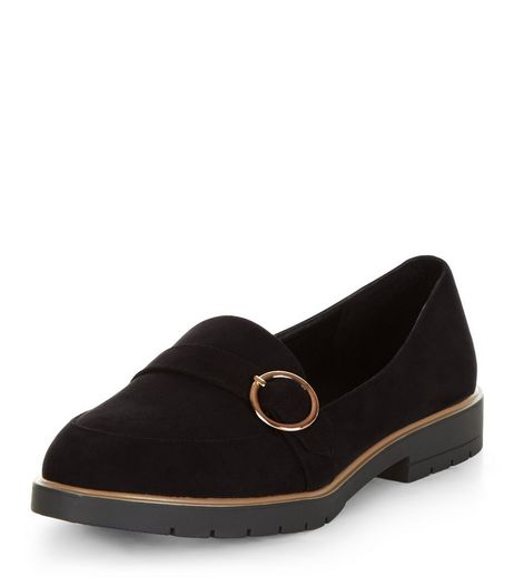 Wide Fit Black Buckle Strap Chunky Loafers | New Look