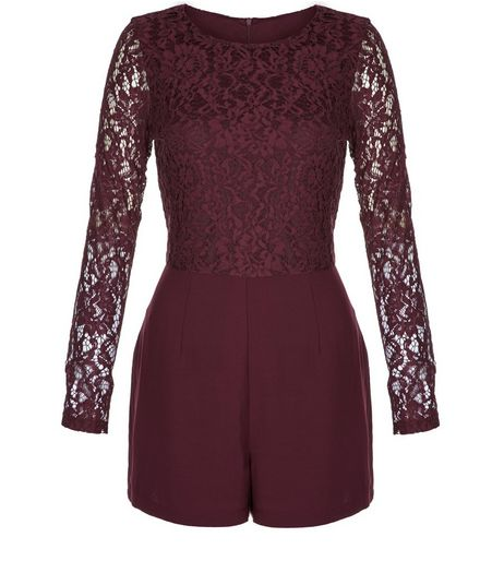 Burgundy Lace Long Sleeve Playsuit Top | New Look