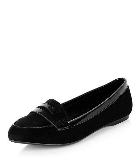 Wide Fit Black Contrast Trim Loafers  | New Look