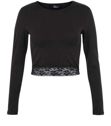 Teens Black Lace Trim Crop Top | New Look