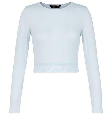 Teens Pale Blue Lace Hem Long Sleeve Top | New Look