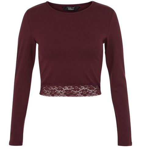 Teens Burgundy Lace Hem Top | New Look
