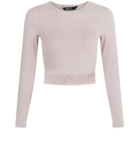 Teens Mid Pink Lace Hem Long Sleeve Crop Top | New Look