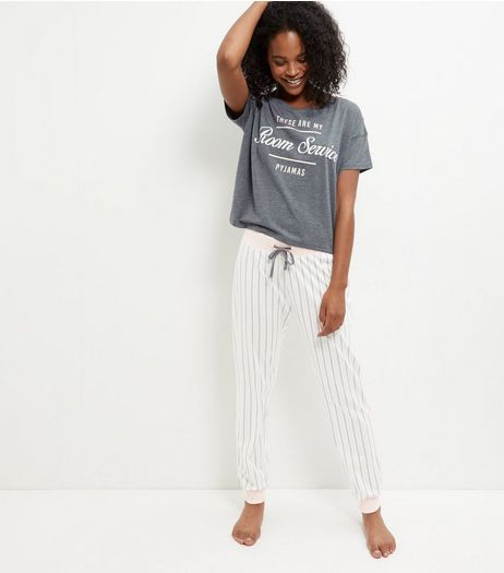Pink Room Service Slogan Stripe Pyjama Set  | New Look