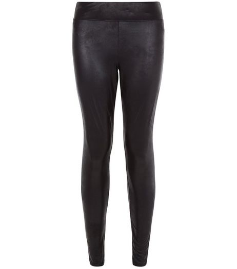 Black Coated High Waist Leggings | New Look