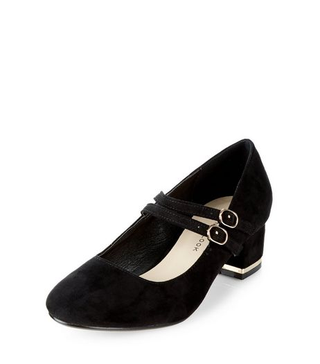 Teens Black Suedette Metal Trim Block Heels | New Look