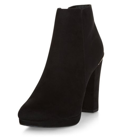 Black Comfort Suedette Metal Trim Ankle Boots  | New Look