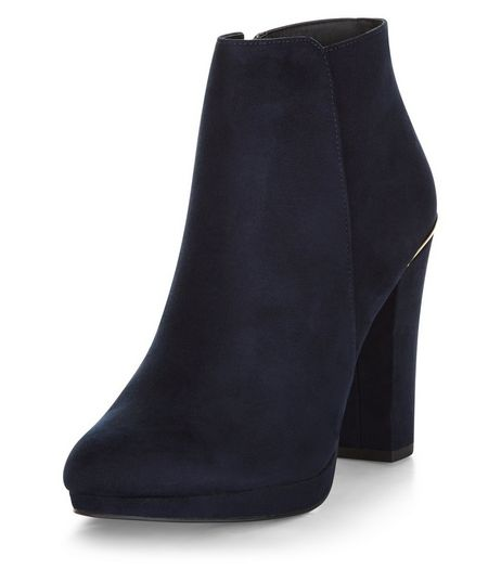 Navy Comfort Suedette Metal Trim Ankle Boots  | New Look