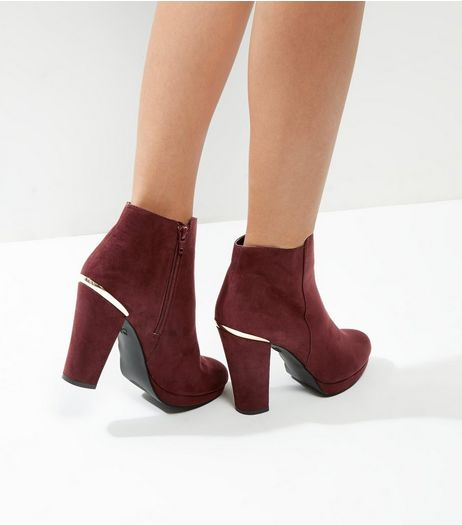Burgundy Comfort Suedette Metal Trim Platform Boots | New Look