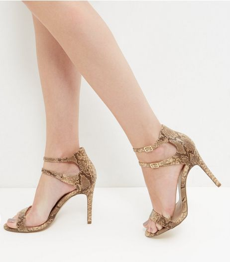 Brown Snakeskin Print Double Ankle Strap Heels  | New Look