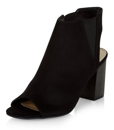 Black Suedette Peep Toe Block Heel Ankle Boots  | New Look