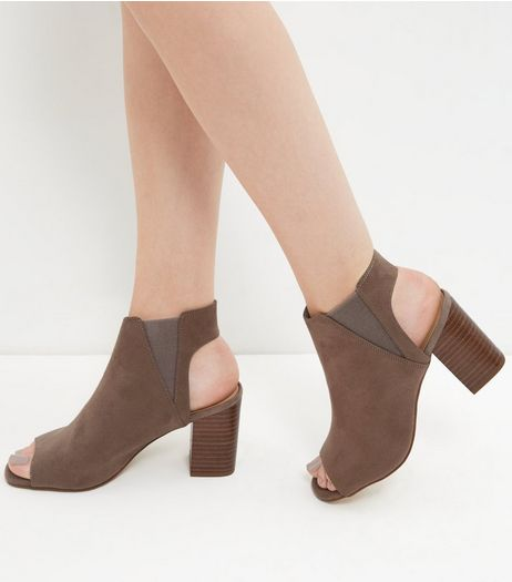 Light Brown Suedette Peep Toe Block Heel Ankle Boots  | New Look