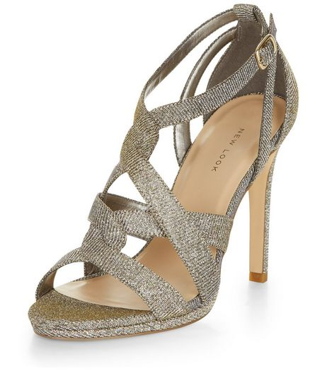 Gold Glitter Twist Strap Heeled Sandals  | New Look
