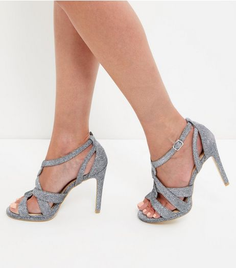 Silver Glitter Twist Strap Heeled Sandals  | New Look
