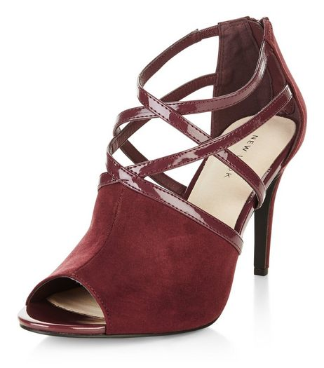 Dark Red Comfort Strappy Heeled Boots  | New Look