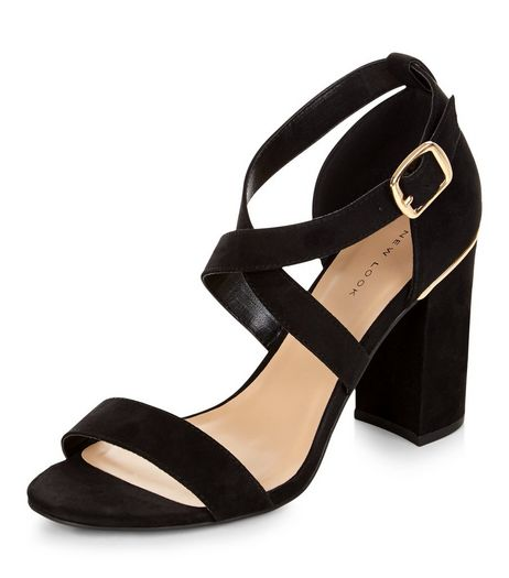Black Suedette Cross Strap Metal Trim Block Heels  | New Look