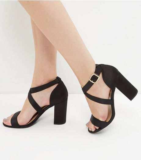 Black Sateen Cross Strap Block Heeled Sandals | New Look