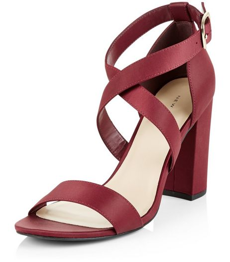 Dark Red Sateen Cross Strap Block Heeled Sandals | New Look