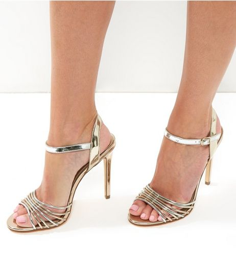 Gold Mirror Strappy Heeled Sandals | New Look