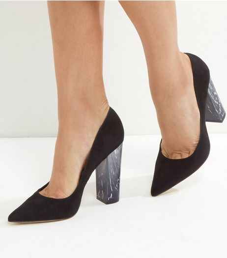 Black Suedette Marble Block Heels | New Look
