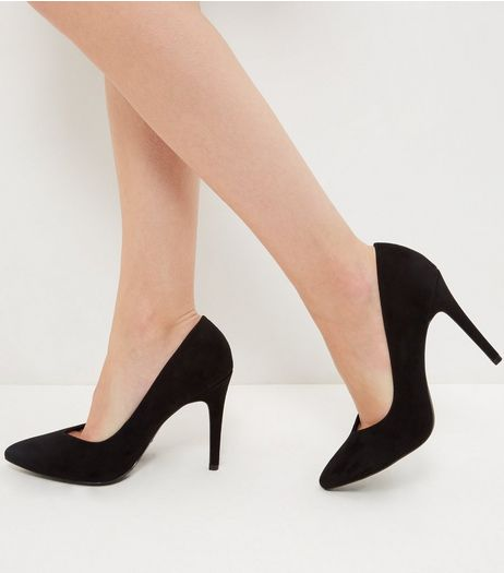 Wide Fit Black Suedette V Throat Pointed Heels  | New Look
