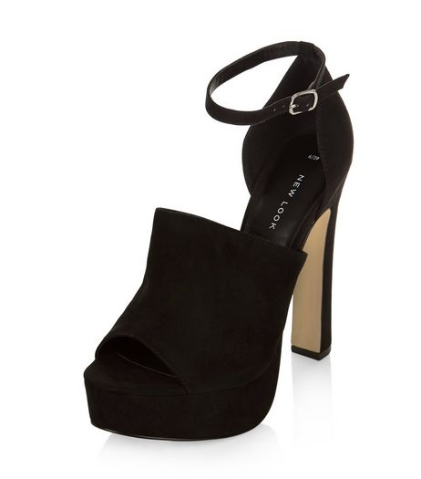 Black Suedette Peep Toe Ankle Strap Platform Heels  | New Look