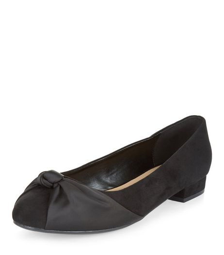 Wide Fit Black Suedette Knottted Front Pumps  | New Look