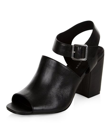 Black Leather Cut Out Peep Toe Heeled Sandals  | New Look