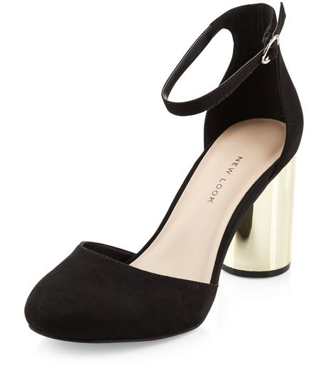 Wide Fit Black Suedette Ankle Strap Contrast Cylindrical Heels | New Look