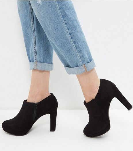 Wide Fit Black Suedette Shoe Boots | New Look