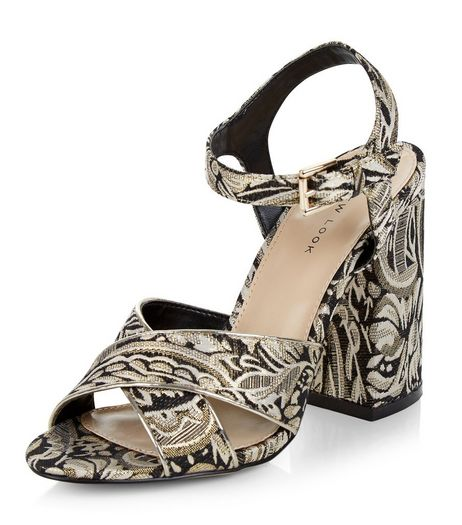 Black Floral Print Brocade Heeled Sandals | New Look