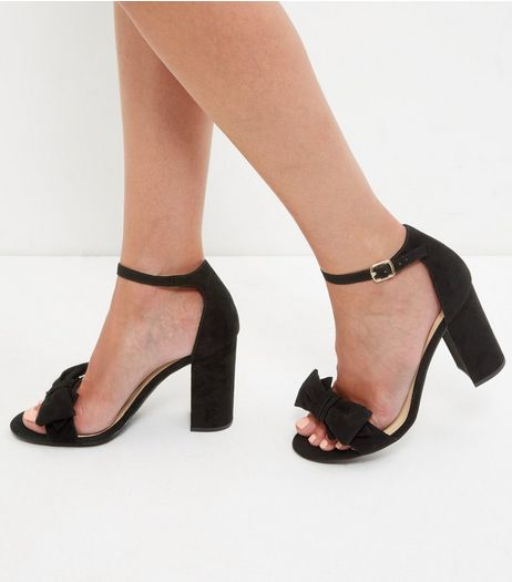 Black Suedette Ankle Strap Block Heel Sandals | New Look