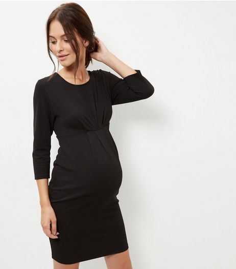 Maternity Black 3/4 Sleeve Dress | New Look
