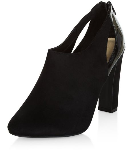Black Comfort Suedette Cut Out Shoe Boots  | New Look