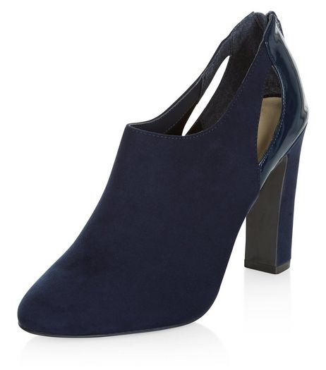 Navy Comfort Suedette Cut Out Shoe Boots  | New Look