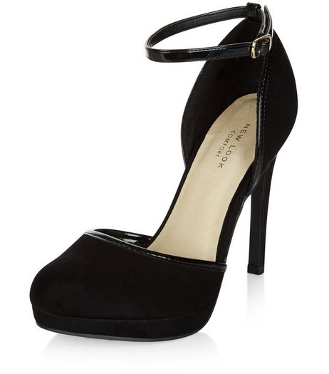 Black Comfort Suedette Ankle Strap Heels  | New Look