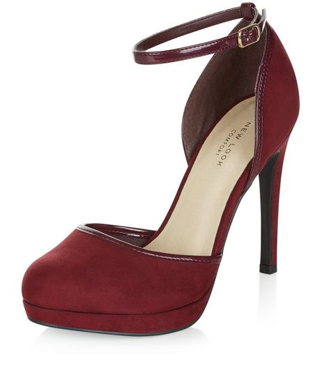 Dark Red Comfort Suedette Ankle Strap Heels  | New Look